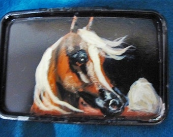 Arabian Belt Buckle hand painted Chestnut Arabian