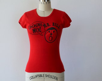 vintage 1970s Mr Bill t-shirt / 70s oh no! mr bill / 70s t shirt / 70s screen printed tee shirt / size xs small