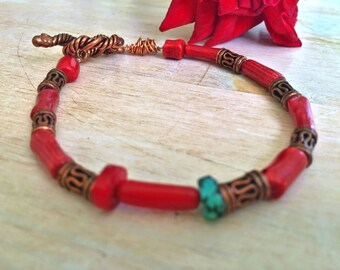 Bamboo Coral Bracelet with Authentic Turquoise Bead - Copper / Unisex