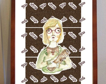 Log Lady from Twin Peaks print - 'My Log will have something to say about this' - A4 sized portrait of Twin Peaks character