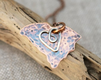 South Carolina Necklace, Copper, Sterling Silver, Sheet Metal