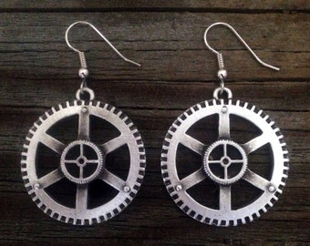 Steampunk Gear Pewter Earrings