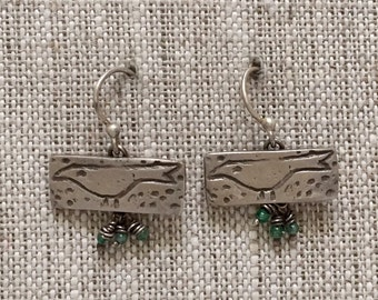Poindexter Bird Sterling Silver Earrings with Apatite Tiny Drops