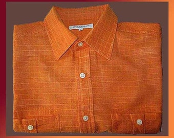 AUTUMNAL Orange--Mans Finely Woven Linen/Cotton Weave Check Long Sleeve Shirt,Redhead,Vintage Fashion/Men