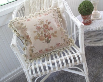 Vintage Pillow * Aubusson * Tapestry * Needlepoint * Paris Apt. * Shabby Chic * French Cottage