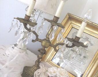 Vintage Candelabra * Shabby French Cottage * Paris Apt. * Putti Cherub * Chandelier Prisms