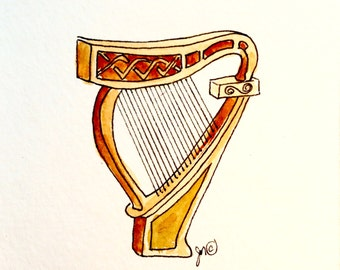 Irish harp quilting fabric