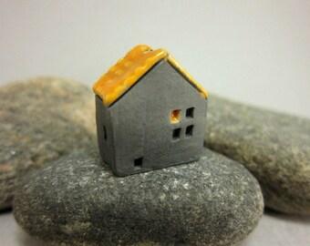 Haunted Cottage...Naked Raku House Bead/Ornament...Glazed Roof