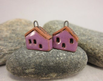 READY TO SHIP...Purple Miniature House Charms in Terracotta...Set of 2