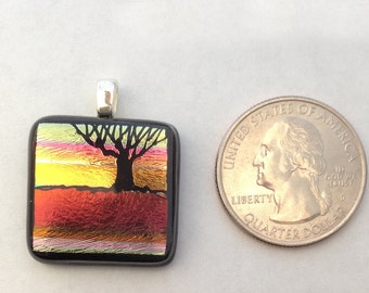Mini Hand Etched Tree Dichroic Glass Pendant