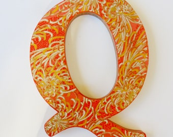 Letter Q, Orange and Gold Q, Wall Decor Q