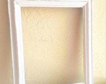 8x10 Shabby Chic White Wooden Picture Frame Wood Gold Showing