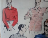 Man's 1950s Sport Shirt Vintage Sewing Pattern, Butterick 7673, Medium