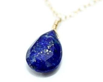 Lapis lazuli necklace - lapis necklace - lapis jewelry - dainty gold necklace - blue gemstone necklace - deep blue jewelry - bridesmaid