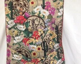 Adult bib with crumb catcher pocket shibori Southwest beauties fabric
