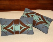 Wool Decorative Pillow / Accent Pillow / Neck Pillow 16 x 8 Rustic Primitive Geometric Handcrafted Using Fabric from Pendleton Woolen Mill