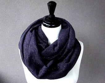 Wool blend infinity scarf, sweater knit wrap, dark purple neck warmer, chunky infinity scarf