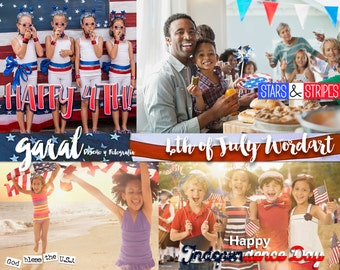 4th of July Wordart Photoshop Overlays, Photoshop Overlay, Independence day,  Word art, PNG, quotes, USA, Die cuts, Celebrate