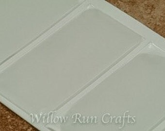 10 Pack 25mm x 50mm Rectangle Clear Epoxy Domes, Resin Stickers (01-05-206)