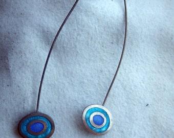 Unusual Dangle Earrings - Enamel Beach Motif - Sterling Silver
