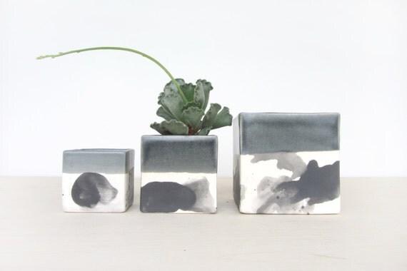Large Splatter Ceramic Square Planter - Single - Made to Order