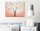 Pink Girls Room Tree Wall Art Acrylic Painting, White Cherry Blossom Girl Nursery Decor, Whimsical Tree Art