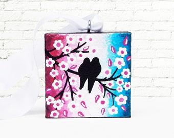 Love Birds Christmas Tree Ornament, Cherry Blossom Holiday Ornament, Bird Ornament Rose Azure Original Painting 2x2, Christmas Gift with Box