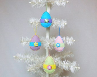 "4 Wool Felt  Easter Egg  Ornaments - 2 1/2"""