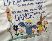Dancing in the rain - bird and bunny - Machine Embroidered quilt block - ready to sew or frame 12.5 inch square / gift for her / DIY / dance