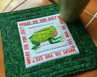 Eric Carle green frog / toad snack mat - oversized coaster - Mug Rug / children / green / gift idea / quilted / home decor / stripes / blue