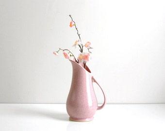 Mid Century Modern Pink Ceramic Brush McCoy Pitcher / Vintage Pink McCoy Vase