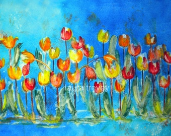 Tulip in Blue Gradient Art Print