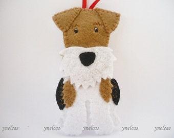 Wire Fox Terrier Dog Ornament Felt Christmas Ornament Fox terrier dog British dog breed dog felt ornament