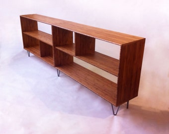 Mid Century Modern Style Bookcase - Record Shelf - Entry Way Table with Shelves - Solid Caramelized Bamboo with Hairpin Legs