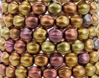 6mm Silky Gold Iris Czech Glass Melon Beads - Qty 25 (BW175)