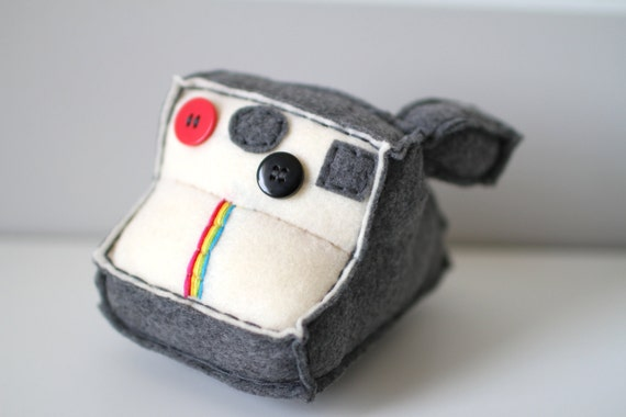 Grey Polaroid Plush Camera