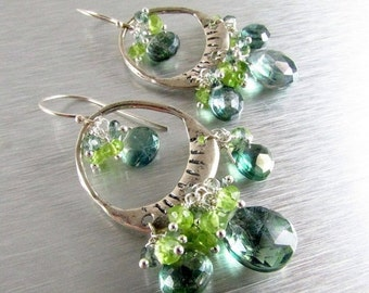 25% Off Summer Sale Boho Style Mystic Green Quartz and Peridot Sterling Silver Artisan Chandelier Cluster Earrings