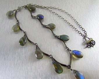 25% Off Summer Sale Labradorite and Oxidized Sterling Necklace