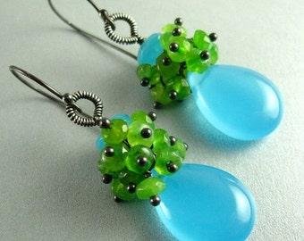 20 % Off Turquoise Blue Chalcedony and Green Jade Sterling Silver Earrings