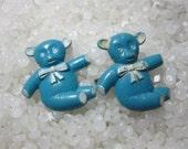 vintage barrette little blue and white bear, rare pair, teddy bear barrette