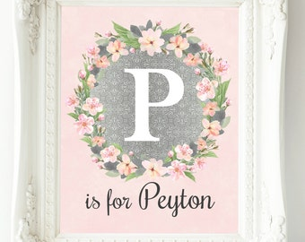 Personalized Nursery Art, Baby Girl Nursery Wall Decor, Custom Name Print, Pink Gray Silver Nursery Wall Art, Girl Wall Art, Floral Monogram