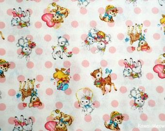 Japanese Fabric - QUILT GATE - Dear Little World - Cute Animals on Milk - Half Yard (ha160804)
