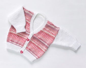 "Baby Girls ""Cotton Candy"" Cardigan. Hand Knit Cardigan. Hand Knit Childrenswear."