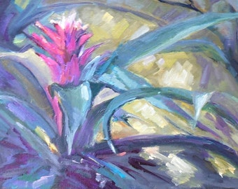 """Floral Oil Painting, Bromeliad Painting, Garden Painting, Small Oil Painting, """"Bromeliad Garden"""", 8x16x.75"""" Oil, Sale"""