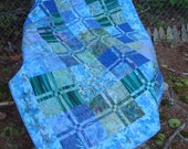Reserved Listing for Anne Blue and Green Turtle Quilt