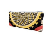 Boho Pouch, Cosmetic Bag, Pencil Pouch, Zipper Pouch, Fabric Pouch, Pencil Case, Gift for Her, Gift Under 20, Boho Swirls Grey and Yellow