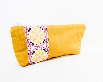 Fabric Zipper Pouch, Gold Zipper Pouch, Gold Pencil Pouch, Pouch, Cosmetic bag, Zipper Case, Fabric Zipper Case, Toiletry Bag, Medium Pouch