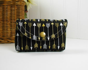 Mini Snap Pouch,  Business Card Case, Card Pouch, Coin Pouch...Metallic Gold Arrows in Black