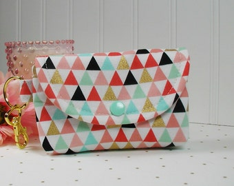 Small Snap Pouch with Gold Clip... Triangles in Coral Mint Gold Black