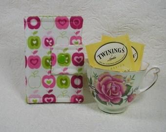 Tea Wallet ... Flo's Garden Apples in Pink